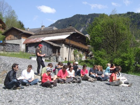 Looking at fluvial terraces in the French Alps